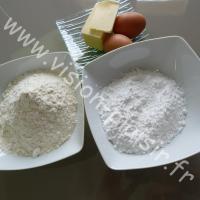 farine - sucre glace - beurre et œufs
