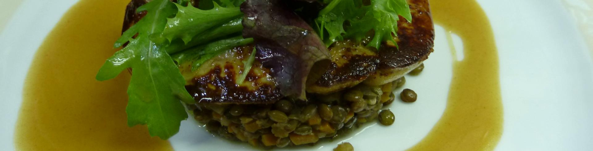 Foie gras et lentilles vertes