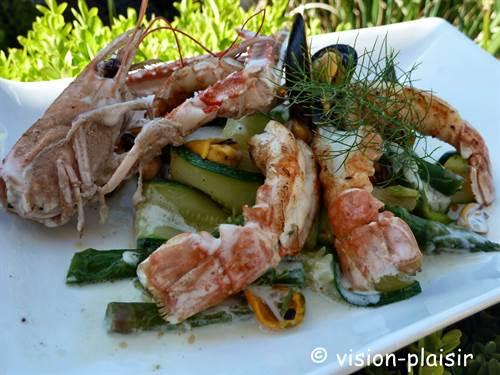 Poeler de langoustines asperges vertes et tagliatelle de courgette 1